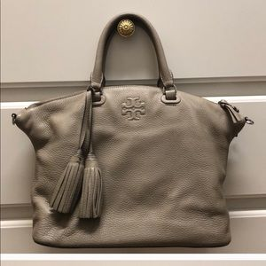 Tory Burch light tan slouchy tote removable strap